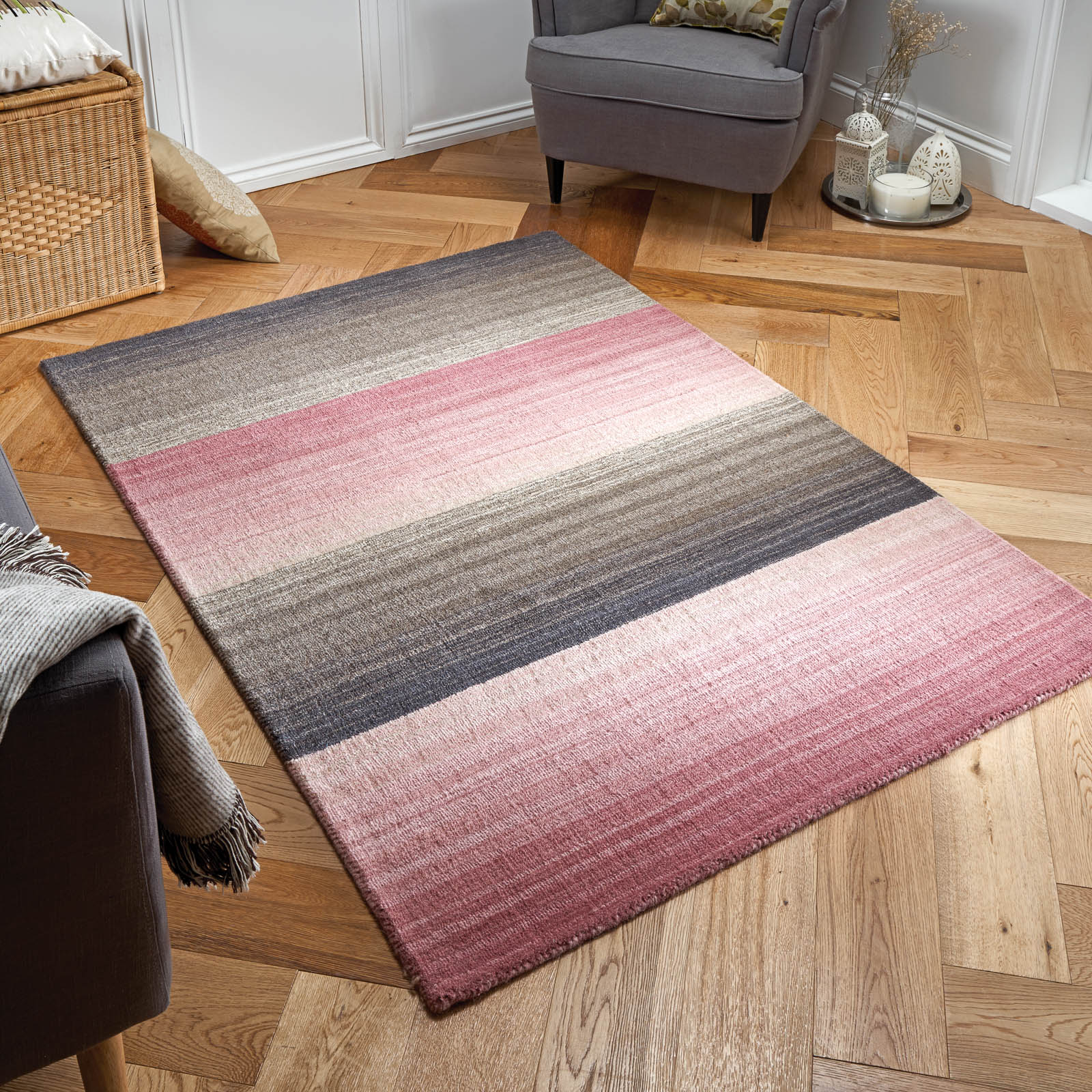 Miko Stripe Rugs in Mauve